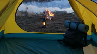 Camping In The Mountains, Camp Fire and Tent at Sunset 20s 4k