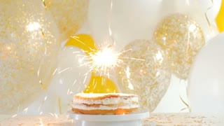 Happy Birthday Cake With Sparklers Greeting Card 1080p FullHD Stock Video Footage