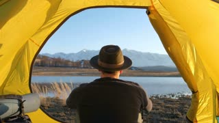 Tent lookout on a Camp in the mountains 20s 4k