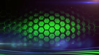 Abstract technology background. Green glowing cells and  strips