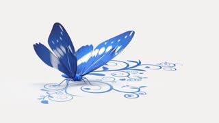 Blue butterfly on ornate background