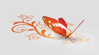 Butterfly on ornate background