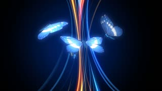 Glowing butterflies flying around shining lines.