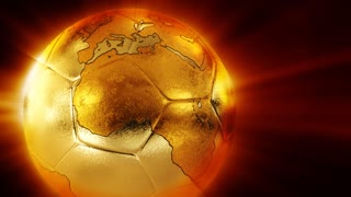 Golden soccer with world map
