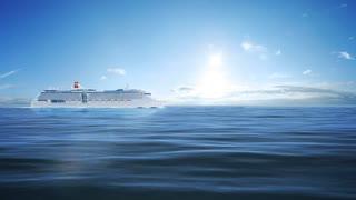 Grand white cruise passenger ship in blue sea