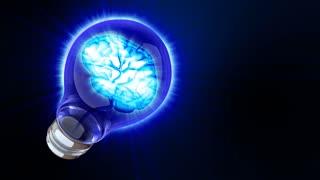 Light bulb with a brain inside. Blue