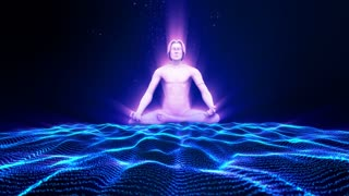 Meditation. meditating man. 3D animation