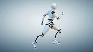 Running cyborg. Cycle. Side view