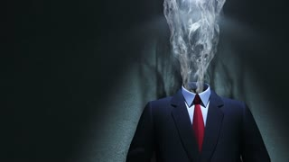 Smoke and suit in spot of light