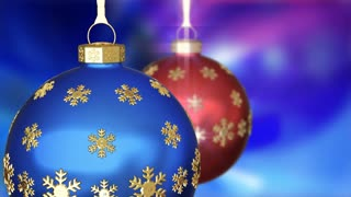 Two Christmas balls on animated background 3D animation. Seamlessly loopable