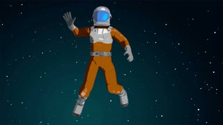 Cartoon astronaut waving in the space