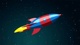 Cartoon rocket flying in the space