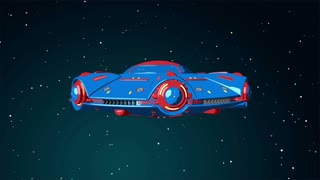Cartoon UFO flying in the space. 3D animation