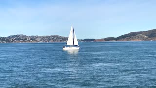 Aerial over water of sailboat in San Francisco bay 2