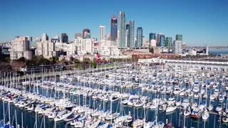 Aerial view of boats docked and San Francisco skyline 2