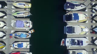 Aerial view of boats docked in the ocean 2