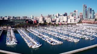Aerial view of boats docked outside San Francisco baseball stadium 2