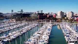Aerial view of boats docked outside San Francisco baseball stadium 3