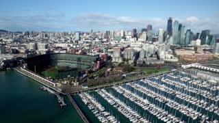 Aerial view of boats docked outside San Francisco baseball stadium 4