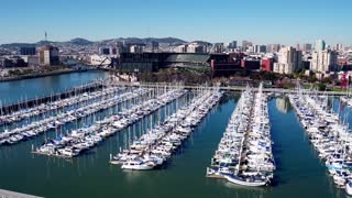 Aerial view of boats docked outside San Francisco baseball stadium