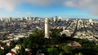 Aerial view of Coit tower and San Francisco cityscape 2