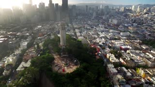 Aerial view of Coit tower and San Francisco cityscape 3