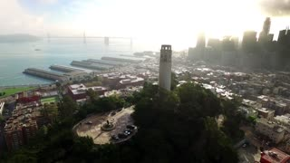 Aerial view of Coit tower and San Francisco cityscape 5