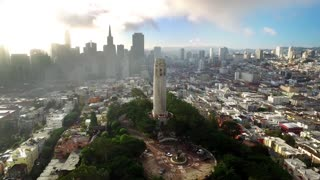 Aerial view of Coit tower and San Francisco cityscape 6