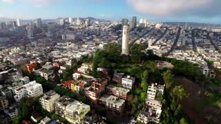 Aerial view of Coit tower and San Francisco cityscape 7