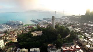 Aerial view of Coit tower and San Francisco cityscape 8