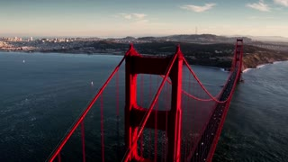 Aerial view of Golden Gate Bridge and San Francisco skyline 12
