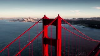 Aerial view of Golden Gate Bridge and San Francisco skyline 13