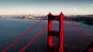 Aerial view of Golden Gate Bridge and San Francisco skyline 14