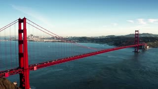 Aerial view of Golden Gate Bridge and San Francisco skyline 4