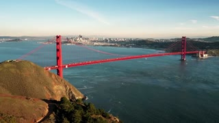 Aerial view of Golden Gate Bridge and San Francisco skyline 7