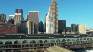 Aerial view of Port of San Francisco sign and skyline 3