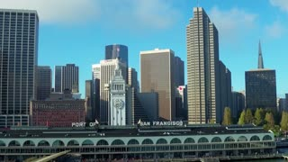 Aerial view of Port of San Francisco sign and skyline 5