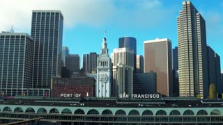 Aerial view of Port of San Francisco sign and skyline 6
