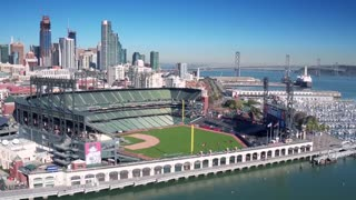 Aerial view of San Francisco baseball stadium and city skyline 3