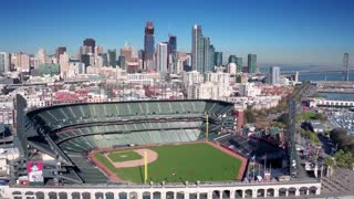 Aerial view of San Francisco baseball stadium and city skyline 4