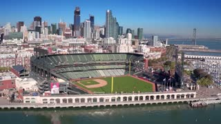 Aerial view of San Francisco baseball stadium and city skyline 5
