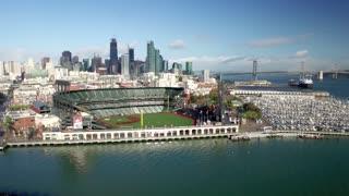 Aerial view of San Francisco baseball stadium and city skyline 6