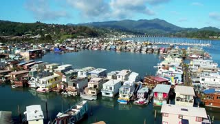 Aerial view of Sausalito floating homes in California 2