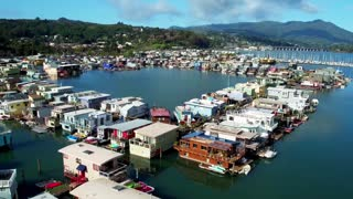 Aerial view of Sausalito floating homes in California 3