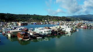 Aerial view of Sausalito floating homes in California 4