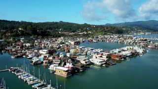 Aerial view of Sausalito floating homes in California