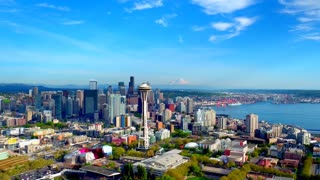 Aerial view of Seattle with Mount Rainier in background 2