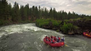 Aerial view of whitewater rafting next to forest 5