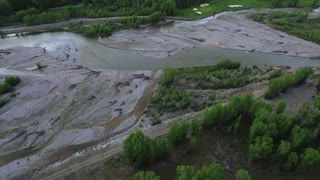 Aerial view of Wyoming river next to golf green 2