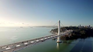 Aerial view over Oakland Bay Bridge facing San Francisco
